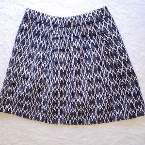 J. Crew Navy and White Jacquard A-Line Skirt